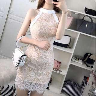 Sexy halter white elegant lace dress #xmas25