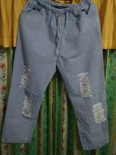 RIPPED JEANS BIG SIZE | Celana Jeans Sobek Wanita