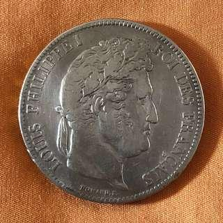 1835-A France 5 Francs Silver Coin