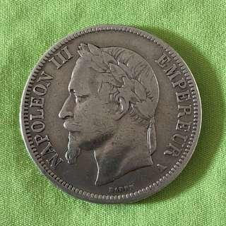 1867-A France 5 Francs Silver Coin