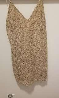 ZARA nude lace dress