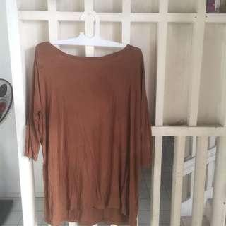 H&M brown tunic blouse