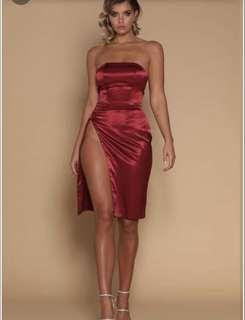 Meshki- Alayna Satin Midi Dress