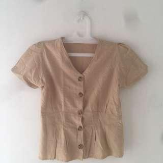 NEW Brown / Cream button blouse