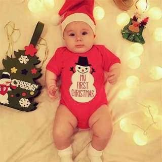 Ready Stock Size 90 Snowman My First Christmas Romper and Hat
