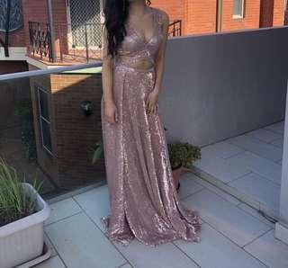 abyss by abby 'mia' rose gold formal gown