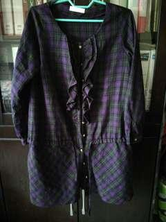 Checkered Ruffle blouse / top / shirt (sz L)