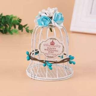 Pretty mini cage with mulberry flowers attached ! - doorgift