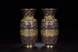 清代 銅胎琺瑯彩鎏金賞瓶一對