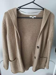 Uniqlo Brown Knit Cardigan w/ Hood