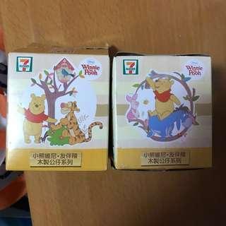 7-11 小熊維尼 Winnie the Poon 系列 木製公仔兩個