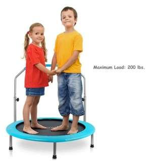 """(PO) BN 40"""" SereneLife Portable Round Trampoline Spring-free Rebounder Gym Sports Fitness Jumping Mat Safe for Kids w/Padded Frame Cover and Adjustable Handle Bar and Carry Bag"""