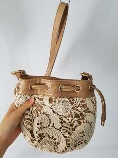 Forever New Brown Mini Bucket Bag w/ White Crochet + Gold Hardware