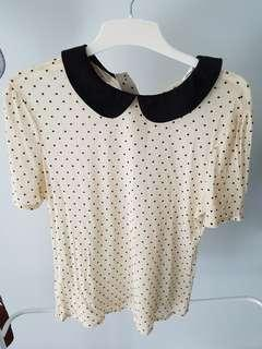 Peter Pan Collared Blouse w/ Polka Dots