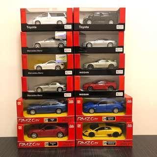 1:43 玩具車仔 benz bmw nissan toyota Lamborghini共12架