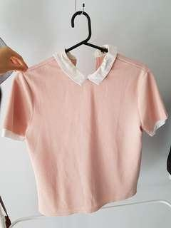 Temt Pink Top w/ White Collar and Contrast Sleeves