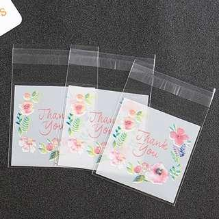 Floral Thank You design Self Adhesive Packaging Plastic Bag for Gift Snack Cookie Candy DIY Accessories