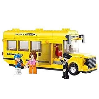 Lightahead DIY Building Blocks Set School Bus with Mini Figures Contruction Kit
