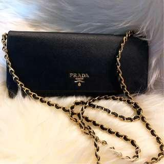 Prada Saffiano Wallet on Chain in Black with GHW