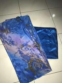 Kain Pasang Satin (Blue) - 4 metres | Satin fabric 2 pieces, 2 metre each