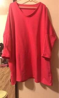 🚚 全新飛鼠袖桃紅長版衣