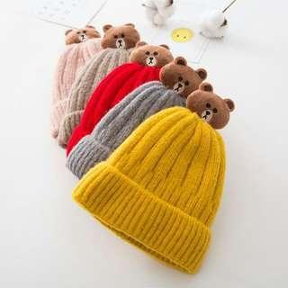 🚚 ❤爆款❤熊大毛帽/兒童帽/冬季加棉保暖/寶寶帽/針織帽/寒流/出國
