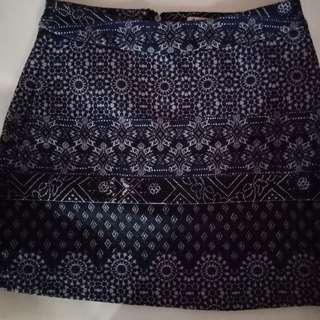 Stradivarius XS Blue Printed Skirt