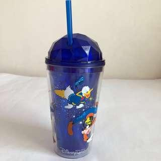 {NEW} DISNEYLAND screw top water cup with straw