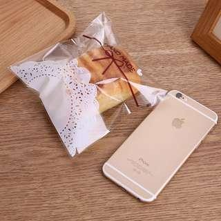 Handmade with paper doily design Self Adhesive Packaging Plastic Bag for Gift Snack Candy Cookie DIY Accessories