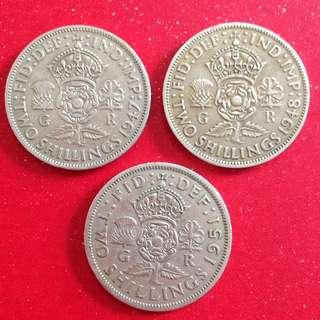 1947/48/51 GB 2 Shillings coins
