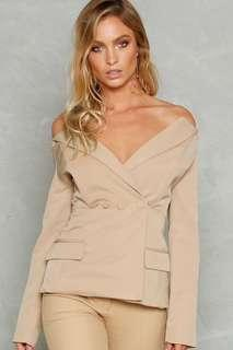 Off the shoulder nude blazer 12