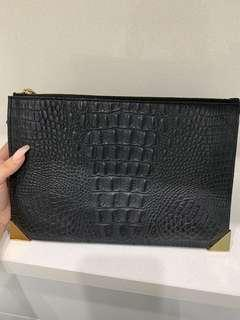 Kookai Leather Clutch- Reptile Skin