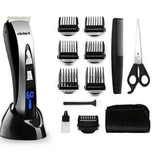 P12 Electric Hair Clippers Professional Cordless Rechargeable Hair Trimmer Haircut Kit LED Display Black/Silver for Elehot