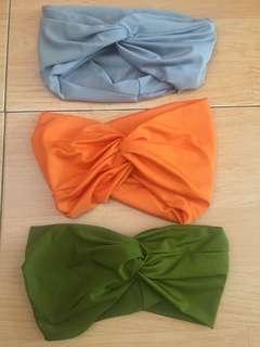 Headband bandana tied twisted polos