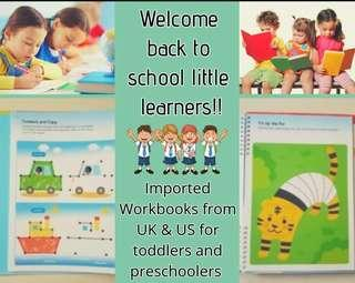 Toddlers and Preschooler UK US Imported workbooks