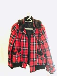 Chequered Red Tweed Fall/Spring Hoodie