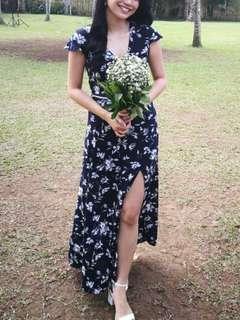 Maxi Dress / Floral Dress (Navy)