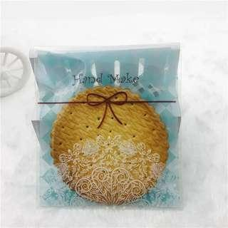 Hand made turquoise lace design Self Adhesive Packaging Plastic Bag for Gift Snack Cookie Candy DIY Accessories