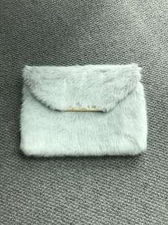 Grey faux fur envelope clutch/ bag