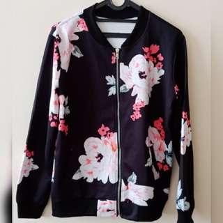 Flower pattern bomber jacket