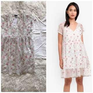 Brand new something borrowed 2-in-1 Embroidered babydoll dress