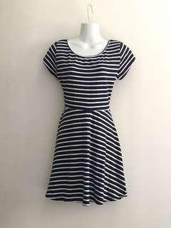 Cotton On Navy Blue & White Stripe Skater Dress