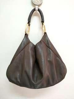 SAZABY DARK BROWN GENUINE LEATHER HOBO BAG