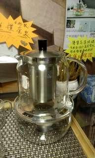 🉐送!送台灣洛神花茶包!🍁高温玻璃茶壺套裝!🔅可承受180℃溫度變化!Glass teapot set !