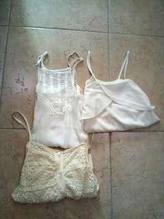 White/cream camisoles