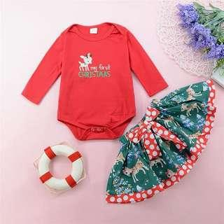 Ready Stock Size 90/100 My First Christmas Long Sleeve Romper & Skirt 2 Piece Set