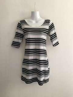 Mimi Maternity Black & White Stripe Short Dress Long Blouse