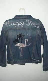 Jaket jeans flaminggo ala korea