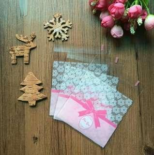 Pink Ribbon For You design Self Adhesive Packaging Plastic Bag for Gift Snack Cookie Candy DIY Accessories