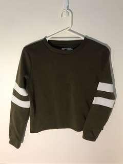 Green army striped sweatshirt